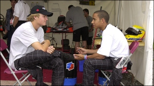 Lewis and Nico, team-mates and good buddies in a former karting life