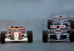 Senna making his move on Prost to take the lead