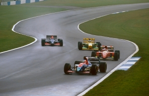 Rubens Barrichello leading the chasing pack