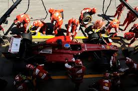 One of Ferrari's 8 pitstops of the race