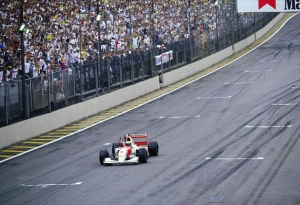 The incomparable Ayrton Senna winning in Interlagos in 1993.