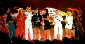 The McLaren-Mercedes launch in 1997. The future Mrs Christian Horner is in the red coat.